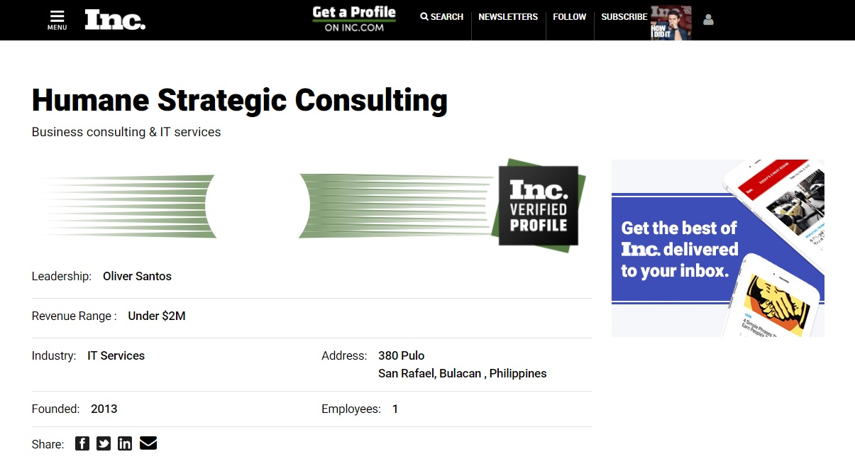 Inc Verified Profile - Humane Strategic Consulting